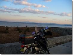 香良洲町の海岸と夕焼け